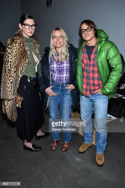 Jenna Lyons Mary Frey and Mario Sorrenti attend front row of Zero Maria Cornejo runway show during New York Fashion Week at Pier 59 on February 13...