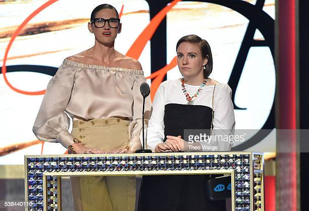 Jenna Lyons of JCrew and Lena Dunham speak onstage at the 2016 CFDA Fashion Awards at the Hammerstein Ballroom on June 6 2016 in New York City
