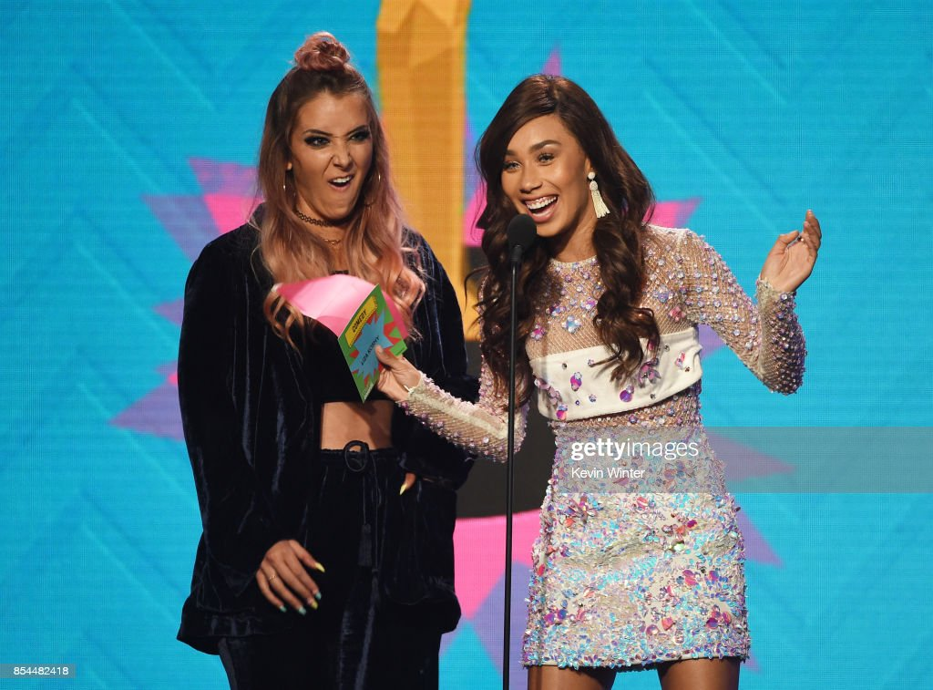 Jenna Marbles and Eva Gutowski onstage during the 2017 Streamy Awards at The Beverly Hilton Hotel on September 26, 2017 in Beverly Hills, California.