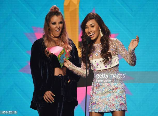 Jenna Marbles and Eva Gutowski onstage during the 2017 Streamy Awards at The Beverly Hilton Hotel on September 26 2017 in Beverly Hills California