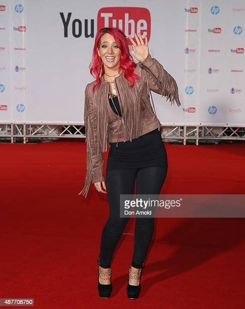 Jenna Marbles poses at Qantas Credit Union Arena on September 11 2015 in Sydney Australia