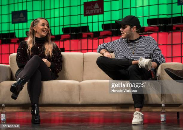 Jenna Marbles YouTube Star and Alfie Deyes YouTube Star Pointless Blog attend a discussion about 'Cult of personality' during the final day of Web...