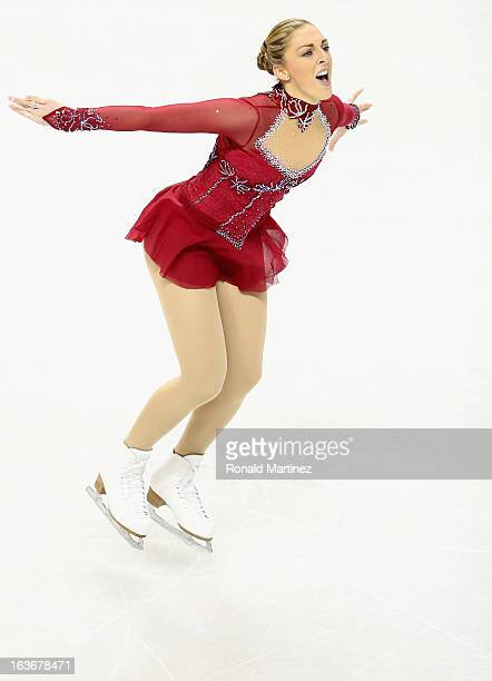 Jenna McCorkell of Great Britain competes in the Ladies Short Program during the 2013 ISU World Figure Skating Championships at Budweiser Gardens on...