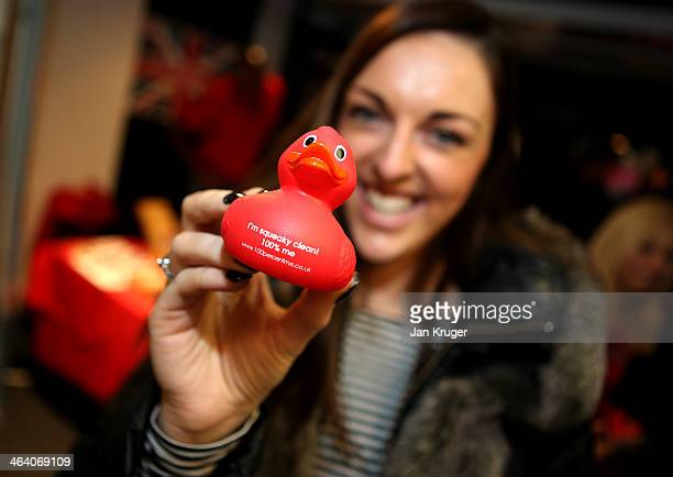 Jenna McCorkell of Great Britain poses with an anti doping soft toy during the Team GB Kitting Out ahead of Sochi Winter Olympics on January 20 2014...