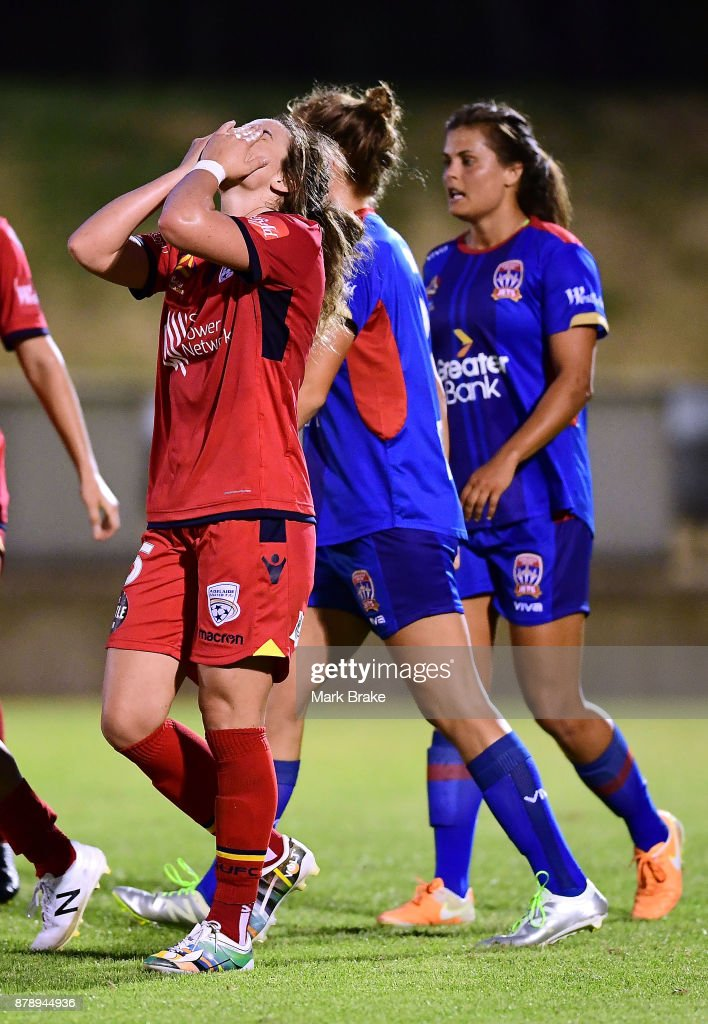 Jenna McCormick of Adelaide United after a missed goal chance during the round five W-League match between Adelaide United and Newcastle Jets at Marden Sports Complex on November 25, 2017 in Adelaide, Australia.