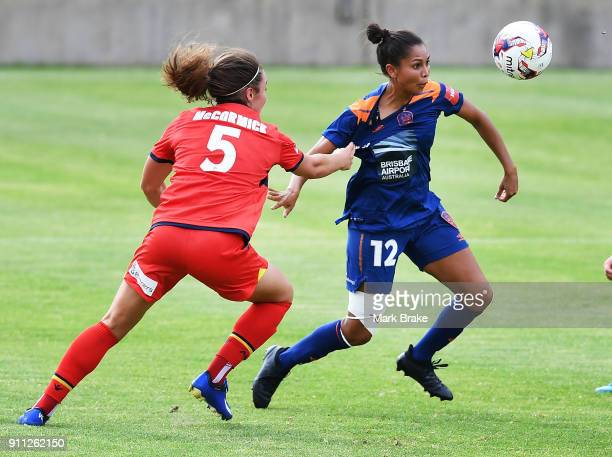Jenna McCormick of Adelaide United and Allira Toby of Brisbane Roar during the round 13 WLeague match between Adelaide United and the Brisbane Roar...