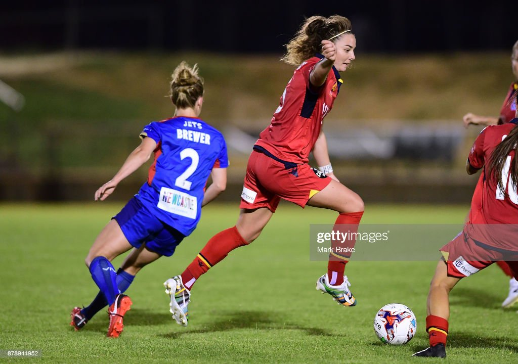 Jenna McCormick of Adelaide United during the round five W-League match between Adelaide United and Newcastle Jets at Marden Sports Complex on November 25, 2017 in Adelaide, Australia.