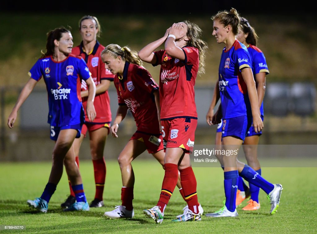 Jenna McCormick of Adelaide United reacts after a missed goal chance during the round five W-League match between Adelaide United and Newcastle Jets at Marden Sports Complex on November 25, 2017 in Adelaide, Australia.