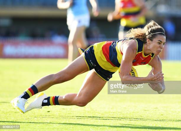 Jenna McCormick of the Adelaide Crows marks during the round five AFLW match between the Adelaide Crows and the Carlton Blues at Norwood Oval on...