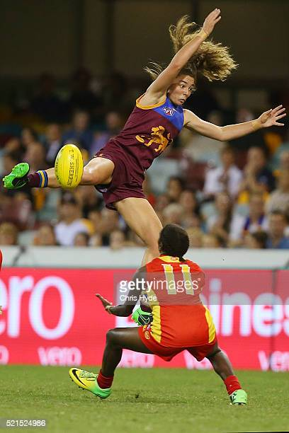 Jenna McCormick of the Lions attempts a mark during the Women's AFL Exhibition match between the Brisbane Lions and the Gold Coast Suns at The Gabba...