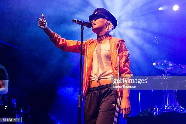 Jenna McDougall of Tonight Alive performs at O2 Forum Kentish Town on February 18, 2016 in London, England.