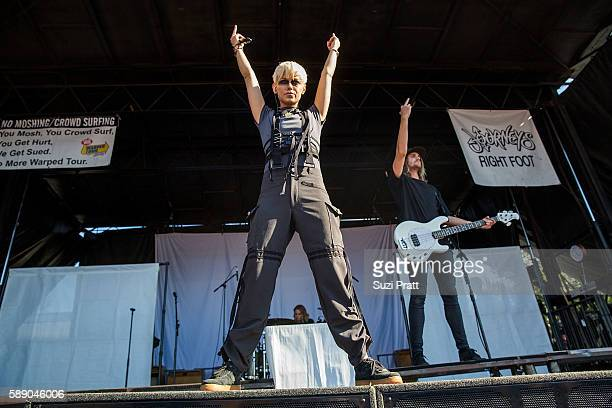 Jenna McDougall of Tonight Alive performs at the Vans Warped Tour at White River Amphitheatre on August 12 2016 in Auburn Washington