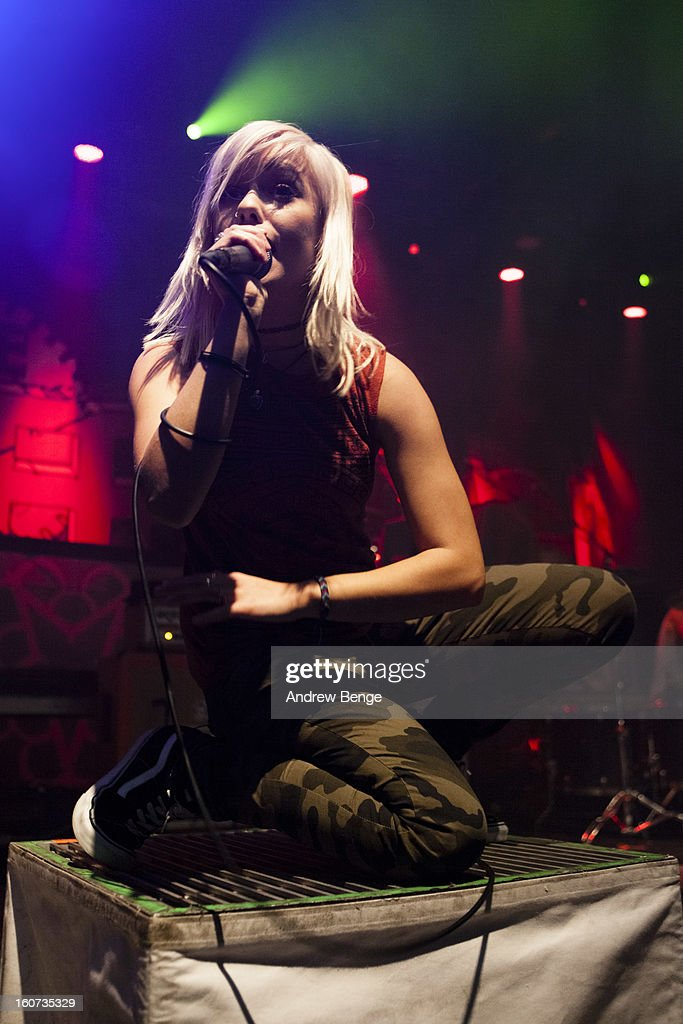 Jenna McDougall of Tonight Alive performs on stage as part of the Kerrang! Tour 2013 at Manchester Academy on February 4, 2013 in Manchester, England.
