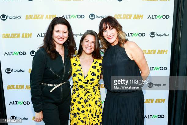 """Jenna Milly, Amanda Moulson, and Ann Marie Allison attend Utopia Films presents """"Golden Arm"""" premiere at Palm Sophia Rooftop on April 30, 2021 in..."""