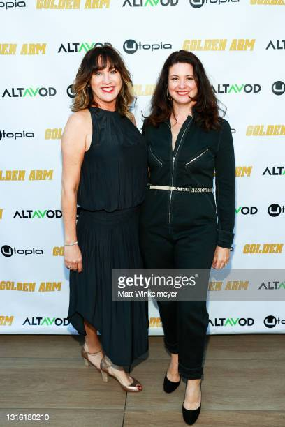 """Jenna Milly and Ann Marie Allison attends Utopia Films presents """"Golden Arm"""" premiere at Palm Sophia Rooftop on April 30, 2021 in Culver City,..."""