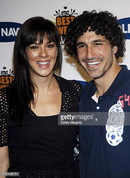 Jenna Morasca and Ethan Zohn during Old Navy and VH1 Host the 100th Episode of Best Week Ever Arrivals at Marquee in New York City New York United...