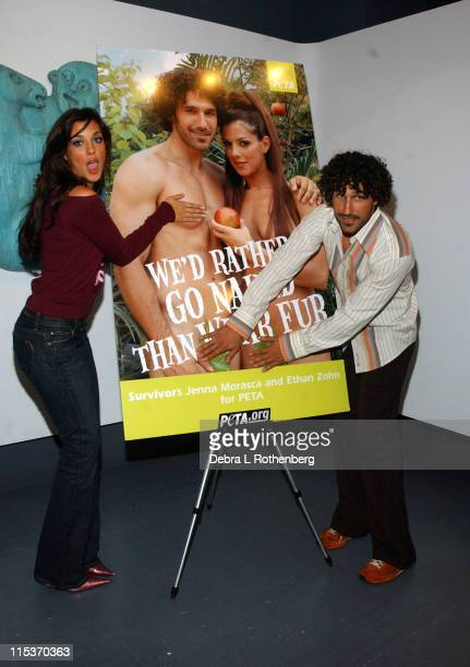 Jenna Morasca and Ethan Zohn during Survivor Couple Jenna Morasca and Ethan Zohn Unveil Peta Ad We'd Rather Go Naked Than Wear Fur at Museum of Sex...