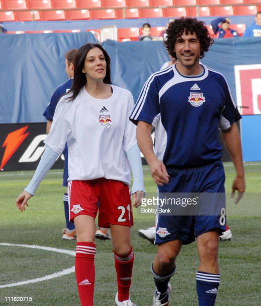 """Jenna Morasca and Ethan Zohn of """"Survivor"""" playing in the 2008 New York Red Bulls season opener celebrity pre-game at Giants Stadium on April 5, 2008..."""