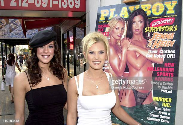 Jenna Morasca and Heidi Stroebel during Jenna and Heidi from Survivor The Amazon Host the August 2003 Playboy Release Party at Suede in New York City...