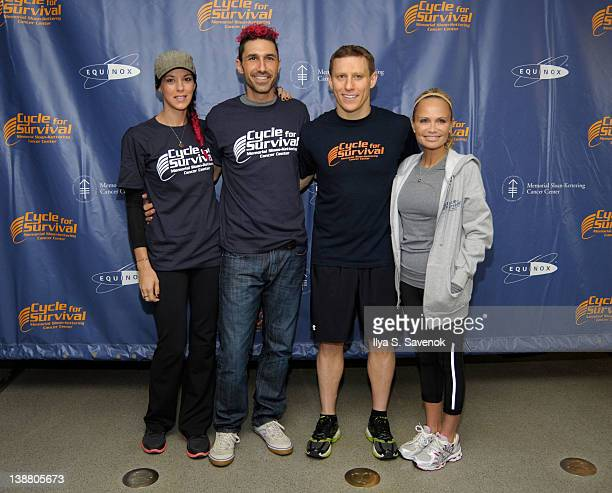 Jenna Morasca, Ethan Zahn, David Linn and Kristin Chenoweth attend 2012 Cycle For Survival - Day 2 at Equinox Graybar on February 12, 2012 in New...