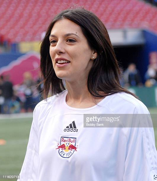 """Jenna Morasca of """"Survivor"""" playing in the 2008 New York Red Bulls season opener celebrity pre-game at Giants Stadium on April 5, 2008 in East..."""