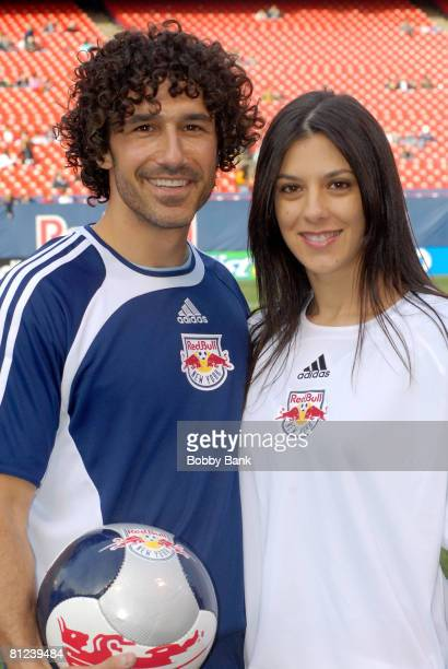 """Jenna Morasco and Ethan Zohn of """"Survivor"""" playing in the 2008 New York Red Bulls season opener celebrity pre-game at Giants Stadium on April 5, 2008..."""