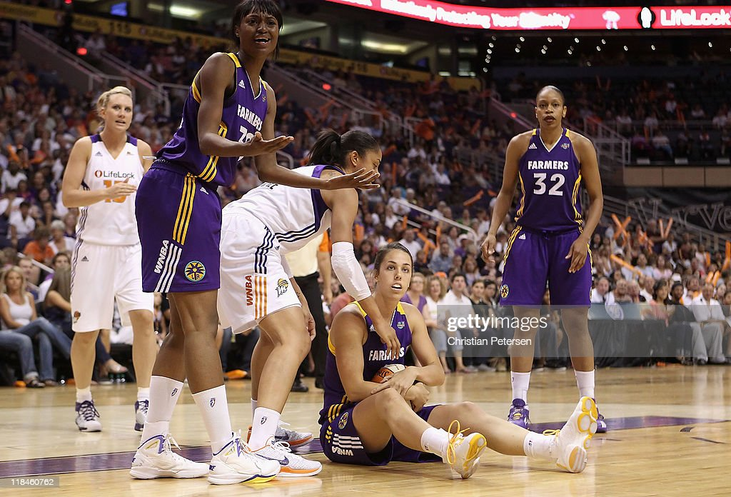 Jenna O'Hea #6 of the Los Angeles Sparks reacts during the WNBA game against the Phoenix Mercury at US Airways Center on July 5, 2011 in Phoenix, Arizona. The Mercury defeated the Sparks 101-82.