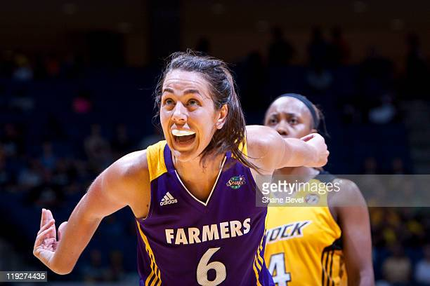 Jenna O'Hea of the Los Angeles Sparks reacts to a missed free throw against the Tulsa Shock during the WNBA game on July 15 2011 at the BOK Center in...