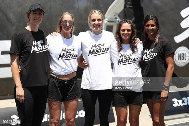 Jenna O'Hea Rebecca Cole Madeline Garrick Amelia Todhunter and WNBL players pose during a NBL media opportunity at Federation Square on January 24...