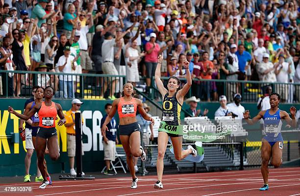 Jenna Prandini celebrates as she crosses the finish line to win the Women's 200 Meter Dash final during day four of the 2015 USA Outdoor Track Field...