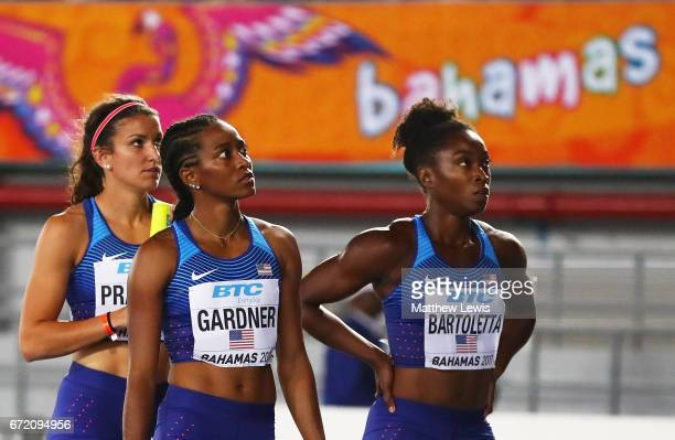 Jenna Prandini English Gardner and Tianna Bartoletta of the USA react after failing to finish the Women's 4x100 Metres Relay Final during the...