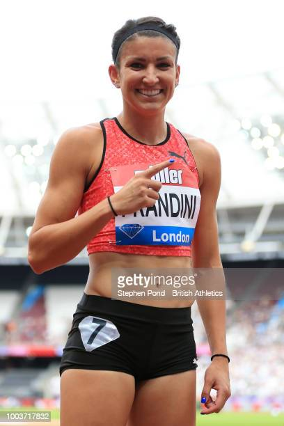 Jenna Prandini of The United States celebrates victory following the Women's 200m during Day Two of the Muller Anniversary Games at London Stadium on...
