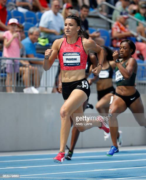 Jenna Prandini runs in the semifinal of the Womens 200 Meter during day 4 of the 2018 USATF Outdoor Championships at Drake Stadium on June 24 2018 in...