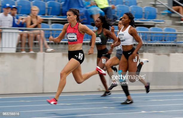 Jenna Prandini runs to victory in the Womens 200 Meter Final during day 4 of the 2018 USATF Outdoor Championships at Drake Stadium on June 24 2018 in...