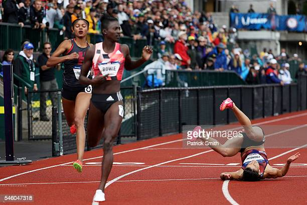 Jenna Prandini third place falls to the track as Tori Bowie places first in the Women's 200 Meter Final during the 2016 US Olympic Track Field Team...