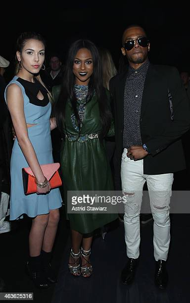Jenna Rose Tashiana Washington and Eric West attend the Vivienne Tam fashion show during MercedesBenz Fashion Week Fall 2015 at The Theatre at...