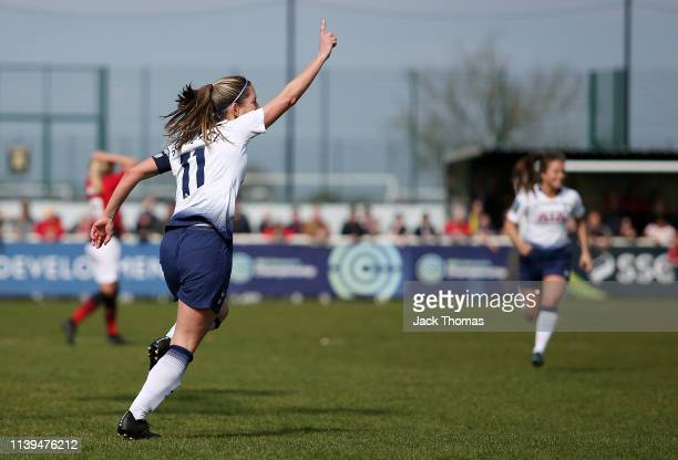 Jenna Schillaci of Tottenham Ladies celebrates after scoring her team's first goal during the WSL 2 match between Tottenham Hotspur Women and...