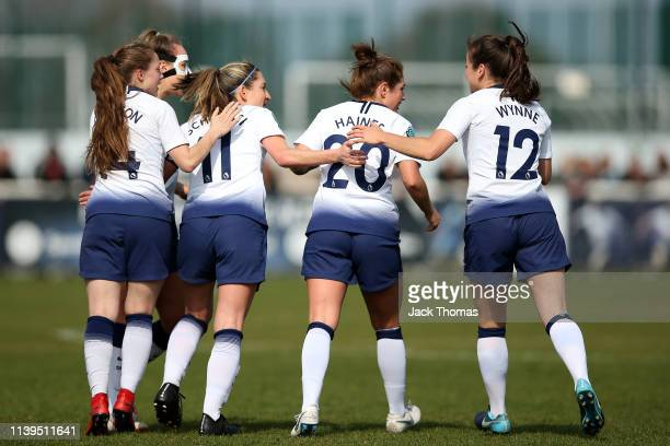 Jenna Schillaci of Tottenham Ladies celebrates with teammates after scoring her team's first goal during the WSL 2 match between Tottenham Hotspur...