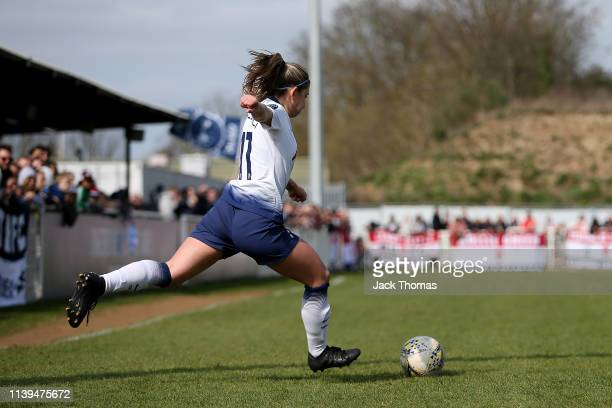 Jenna Schillaci of Tottenham Ladies scores her team's first goal from a free kick outside the box during the WSL 2 match between Tottenham Hotspur...