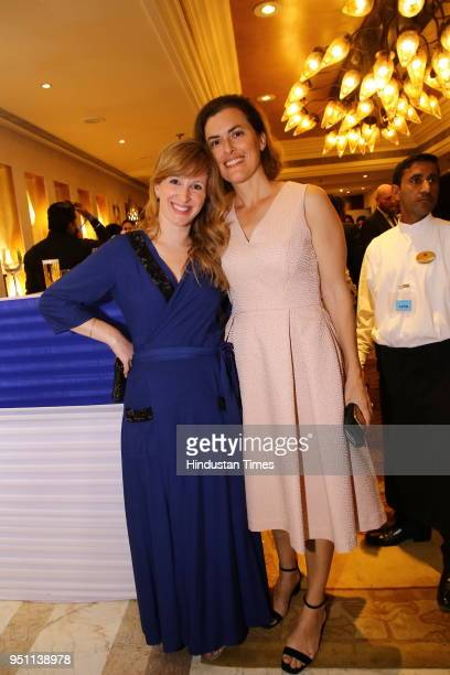 Jenna Short and Ella Curnow during the 70th Independence Day celebrations of State of Israel on April 18 2018 in New Delhi India