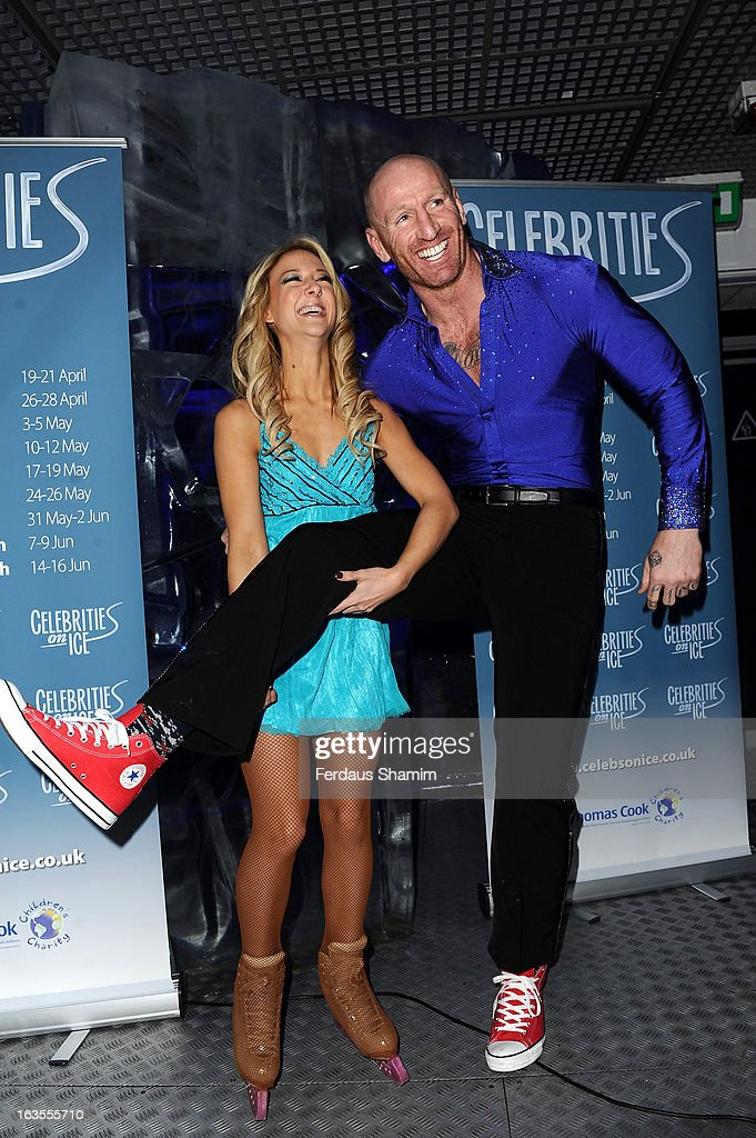 Jenna Smith and Gareth Thomas attend a photocall to announce the tour of Celebrities On Ice at The Ice Bar on March 12, 2013 in London, England.