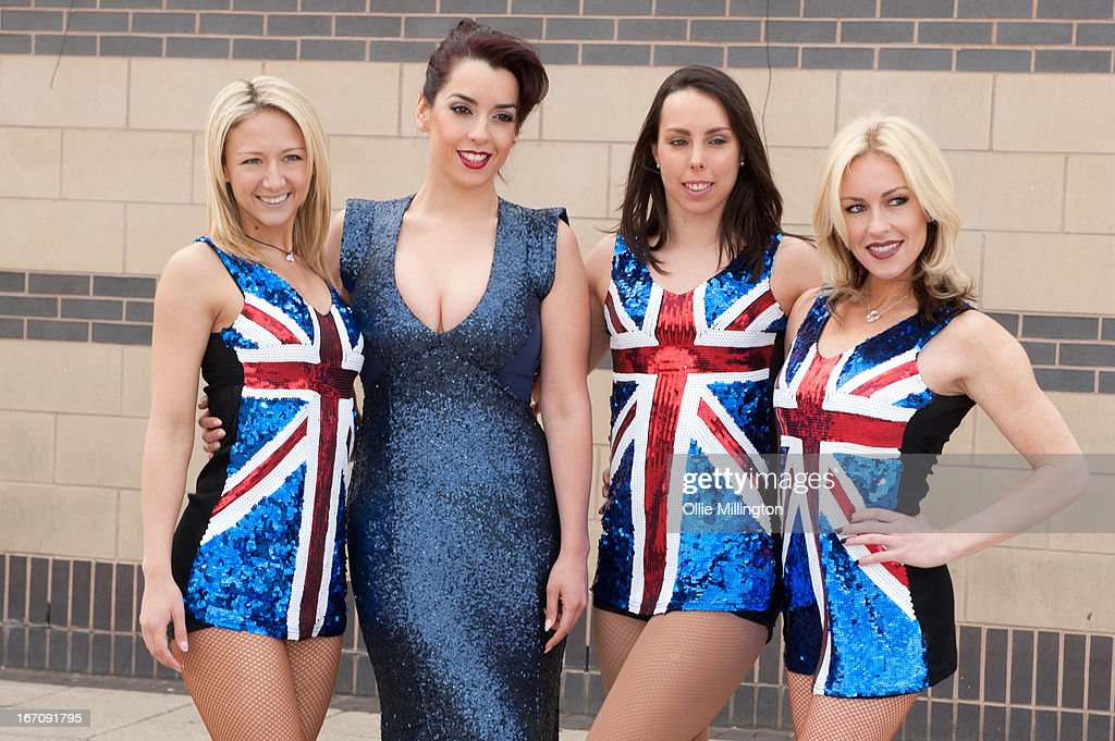 Jenna Smith, Ruth Lorenzo, Beth Tweddl and Brianne Delcourt attend a photocall for Celebritiess on Ice hours before the first show on the opening weekend was called off due to the ice in the arena melting. on April 19, 2013 in Birmingham, England.