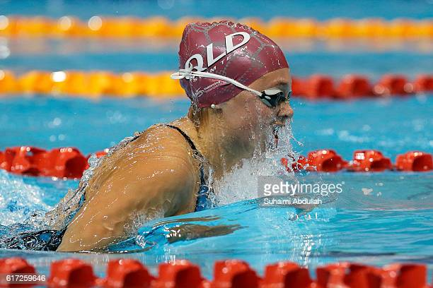 Jenna Strauch of Australia competes in the Women's Breaststroke 200m Final during the 2016 FINA Swimming World Cup at OCBC Aquatic Centre on October...
