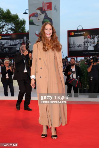 Jenna Thiam walks the red carpet ahead of the 'CapriRevolution' screening during the 75th Venice Film Festival at Sala Grande on September 6 2018 in...