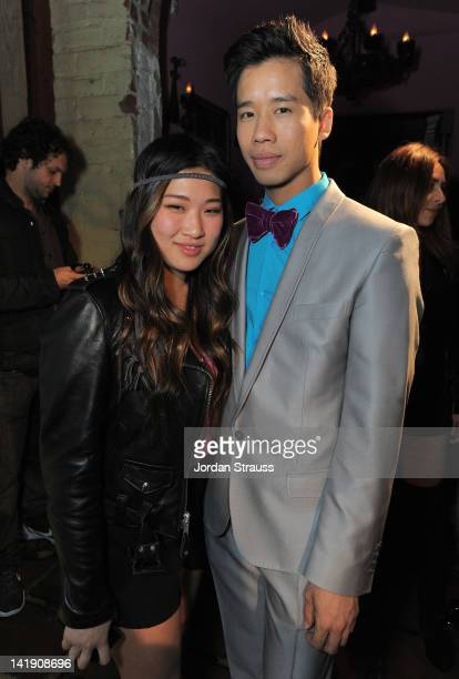 Jenna Ushkowitz and Jared Eng attend Just Jared's 30th at Pink Taco on March 23 2012 in Los Angeles California