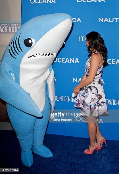 Jenna Ushkowitz and Left Shark attend the 3rd annual Nautica Oceana beach house party at Marion Davies Guest House on May 8, 2015 in Santa Monica,...