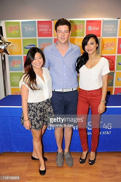 Jenna Ushkowitz, Cory Monteith and Naya Rivera attends the Glee LIVE Tour in Association with Samsung Mobile and AT&T event at the AT&T Store on June...