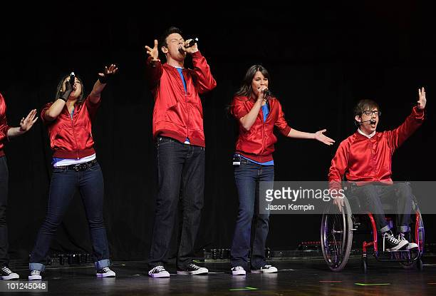 Jenna Ushkowitz Cory Monteith Lea Michele and Kevin McHale from the cast of Glee perform at Radio City Music Hall on May 28 2010 in New York City