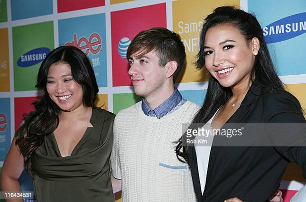 Jenna Ushkowitz, Kevin McHale and Naya Rivera attend the Glee Samsung AT&T spring fling at Gansevoort Park Lounge on June 15, 2011 in New York City.