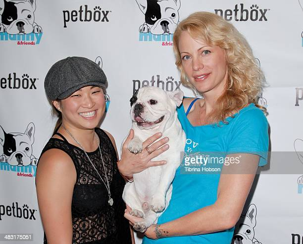"Jenna Ushkowitz, Manny The Frenchie and Alison Eastwood attend the world's most followed bulldog ""Manny The Frenchie"" 2014 tour at Pussy & Pooch Pet..."